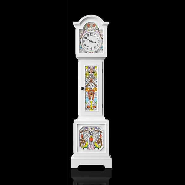 cintage grandfather clock with colorful painting