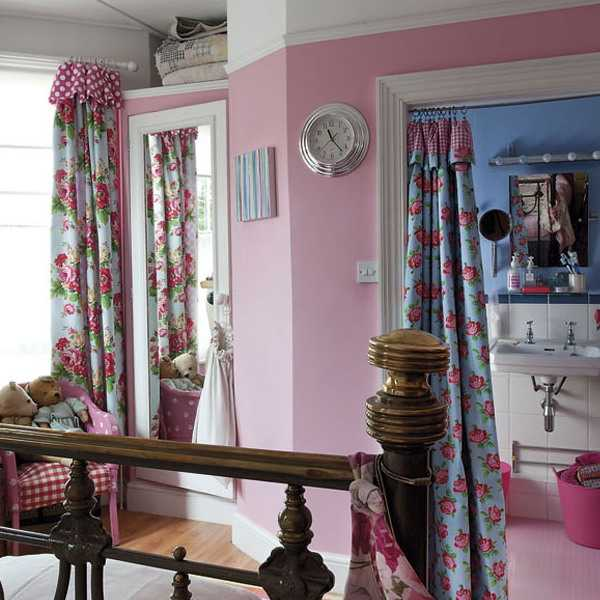 bright curtains with floral designs in vintage style