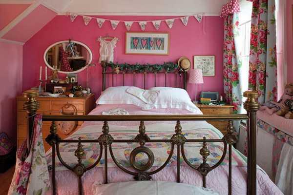 pink bedroom decorating vintage style