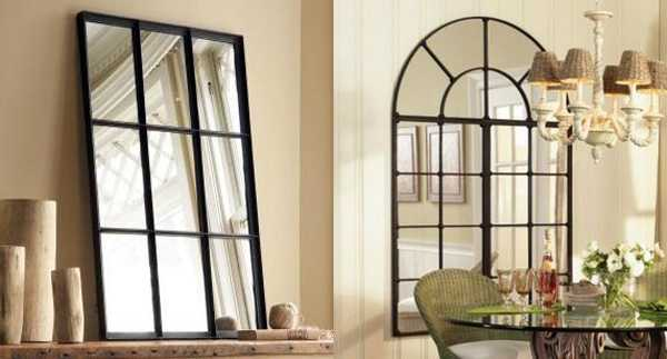 black window mirrors, arched window mirror with metal frame
