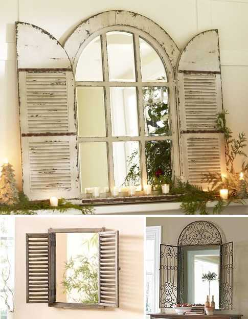 aged wooden, and metal window mirrors, wooden mirrors frames with shutters