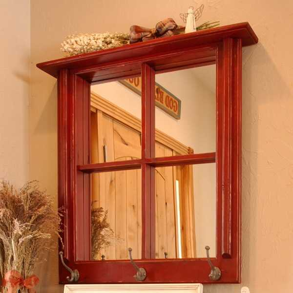 wooden window mirror with top shelf