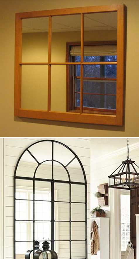 arched window mirror and simple window mirror