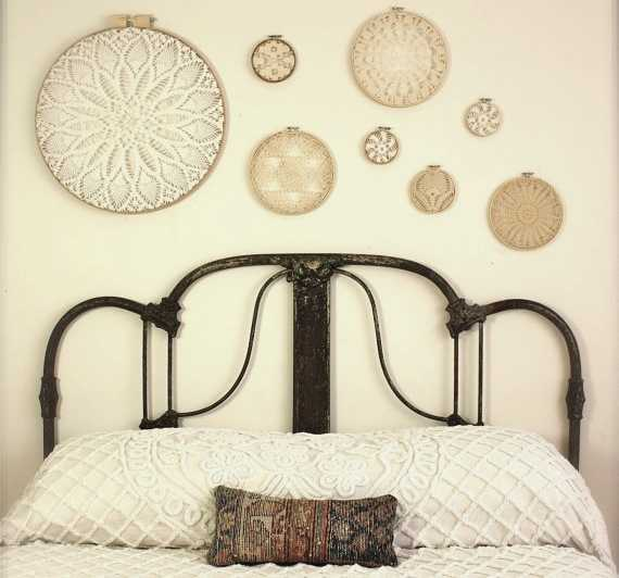 bedroom wall decorating with embroidery hoops in various sizes