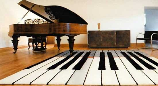 piano floor rug with black and white stripes