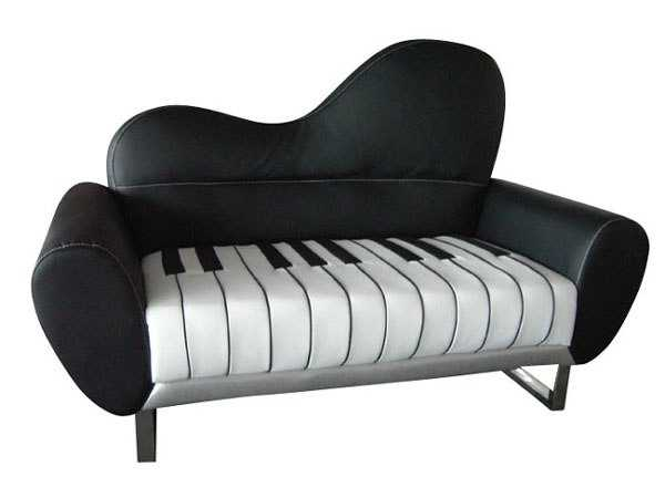 piano like sofa in black and white colors