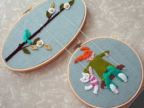 handmade home decorations made with wooden embroidery hoops
