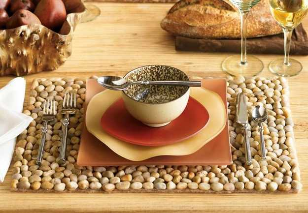 handmade placemat with pebbles