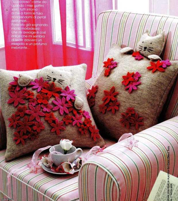 Handmade Decorative Pillows With Textured Flower Designs