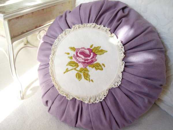 purple pillow cover with floral design