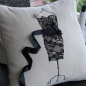 throw pillow with black dress