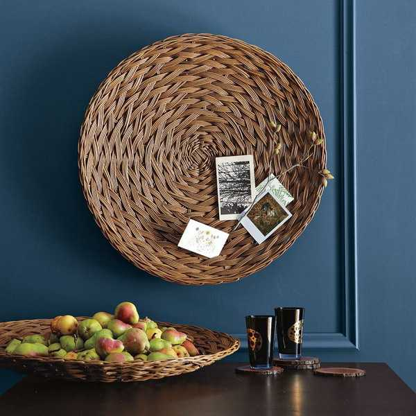 wall decorating with handmade wicker plates