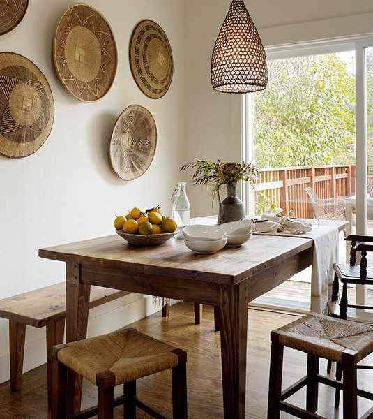 dining room wall decoration with ethnic wicker plates