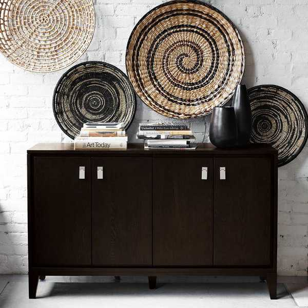 Rattan Wall Decor Round : Modern wall decoration with ethnic wicker plates bowls