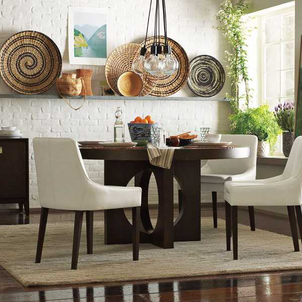 Modern Home Design Ideas Gray: Modern Wall Decoration With Ethnic Wicker Plates, Bowls