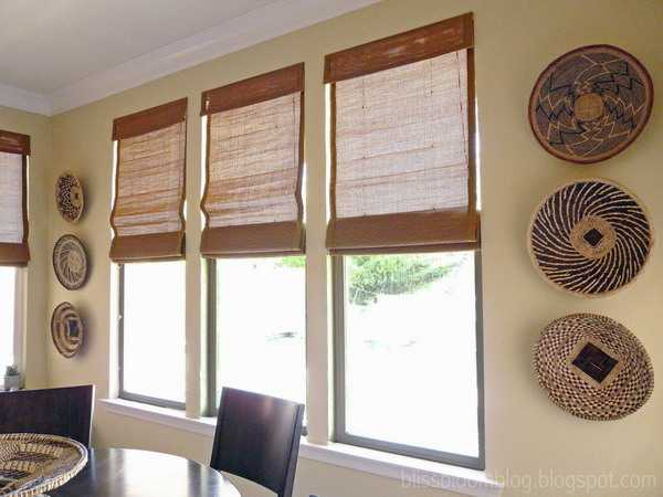 window decorating with wicker plates