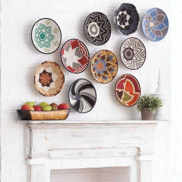 modern wall decorating with wicker baskets