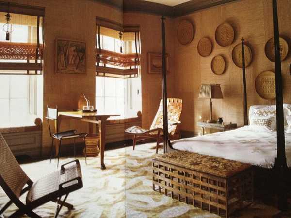 ethnic interior decorating with wicker plates