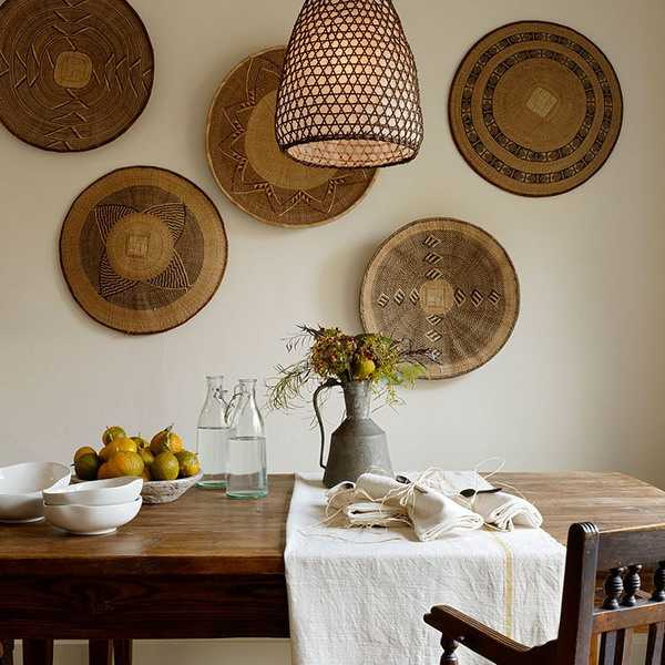 Modern Wall Decoration With Ethnic Wicker Plates, Bowls