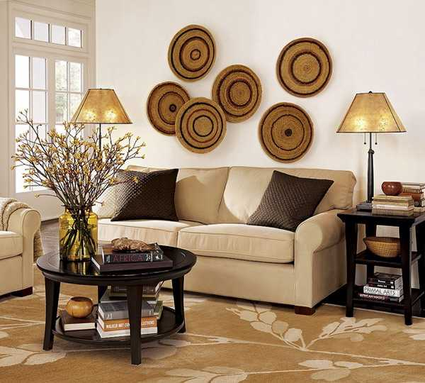 Modern wall decoration with ethnic wicker plates bowls for Asian wall decoration