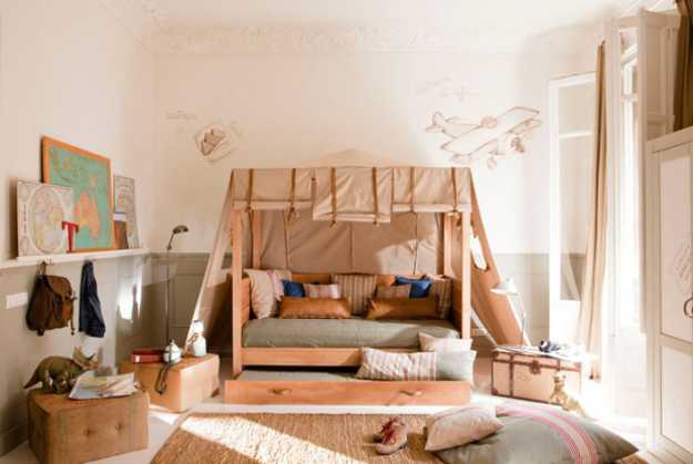 tent bunk beds and kids room decor in neutral colors