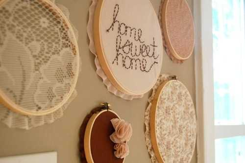beautiful wall decorations made with embroidery rings