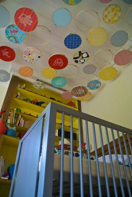 ceiling design with colorful embroidery rings