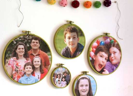 embroidery hoops with photographs
