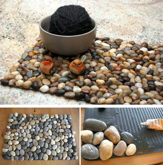 Creative craft ideas my own decorations with beach pebbles for Interior decoration using pebbles