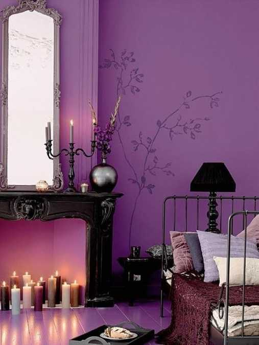 purple wall paint color for bedroom decorating