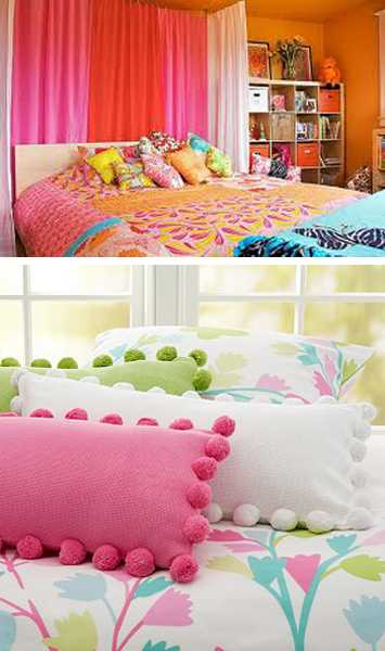 decorative pillows in bright colors