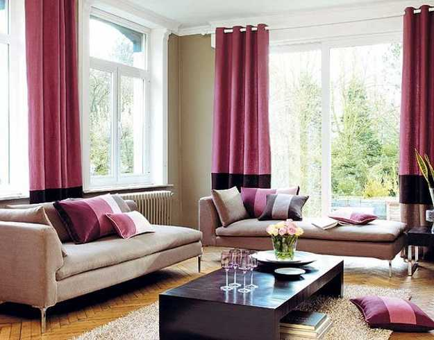 pink window curtains and decorative pillows for living room decorating
