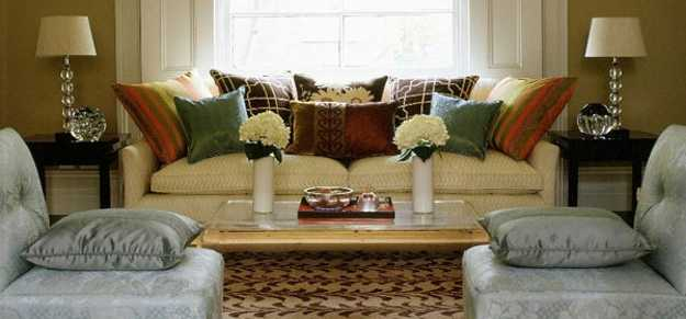 decorative pillows in dark colors