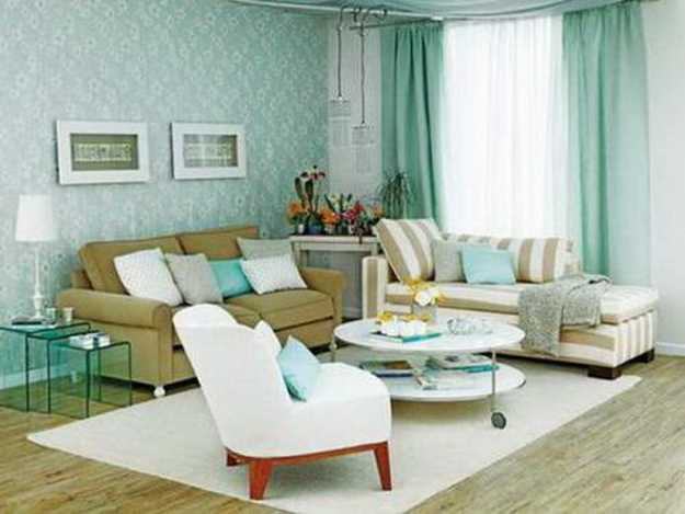 white and blue color combination for modern living room decorating