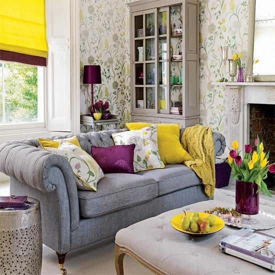 yellow window curtain and decorative pillowd for living room decor