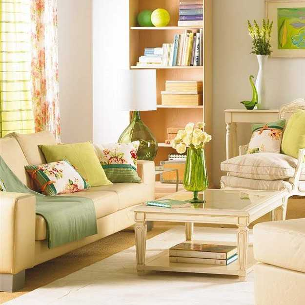green pillows on white living room sofa