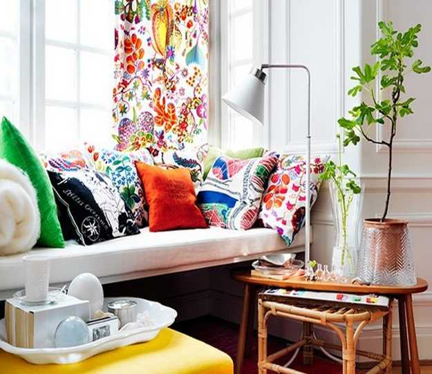 colorful decorative pillows and window curtains for modern living room decorating