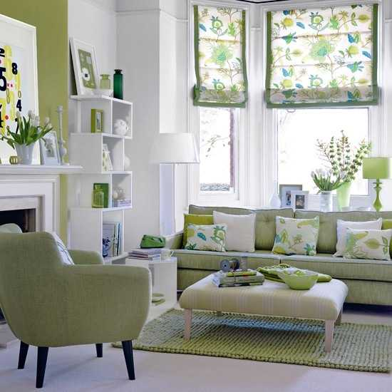 white and green living room decorating