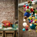 colorful pompons for baby room decorating