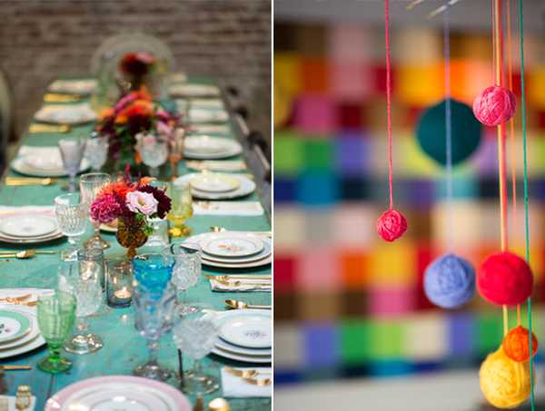 Wall Decorations For Baby Shower : Colorful pompons table and wall decor for baby shower