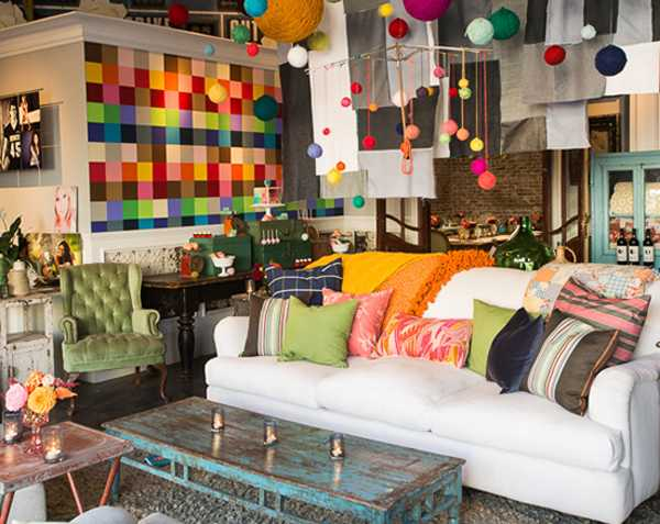 colorful wall decoration and sofa pillows