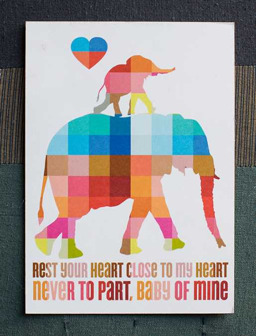 colorful elephant wall poster