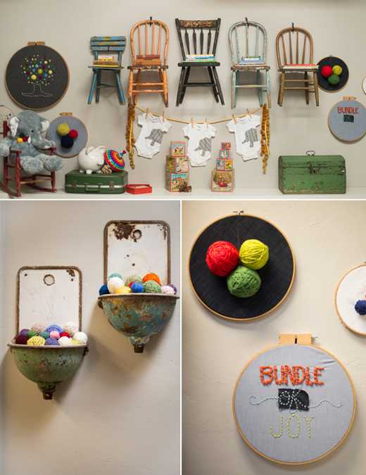 wall decor with vintage furniture and accessories