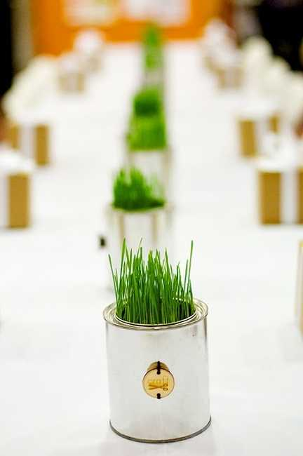table decorations and centerpieces with grass