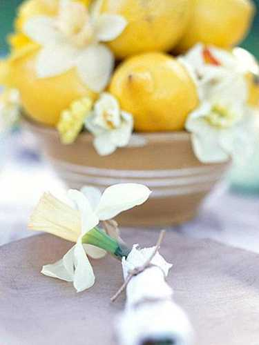 lemons and flowers for spring decorating
