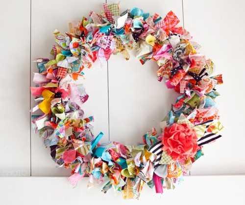 handmade flower wreath for spring door decorating