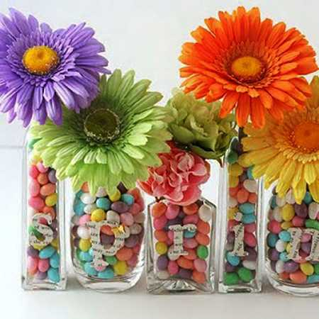 Candy And Flower Arrangements Colorful Table Centerpieces