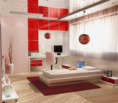 asian interior decorating ideas, white and red color combination