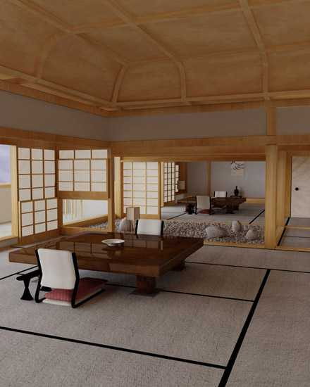 oriental interior decorating with low furniture