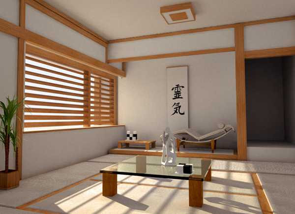 wooden blinds and low furniture, oriental interior decorating ideas